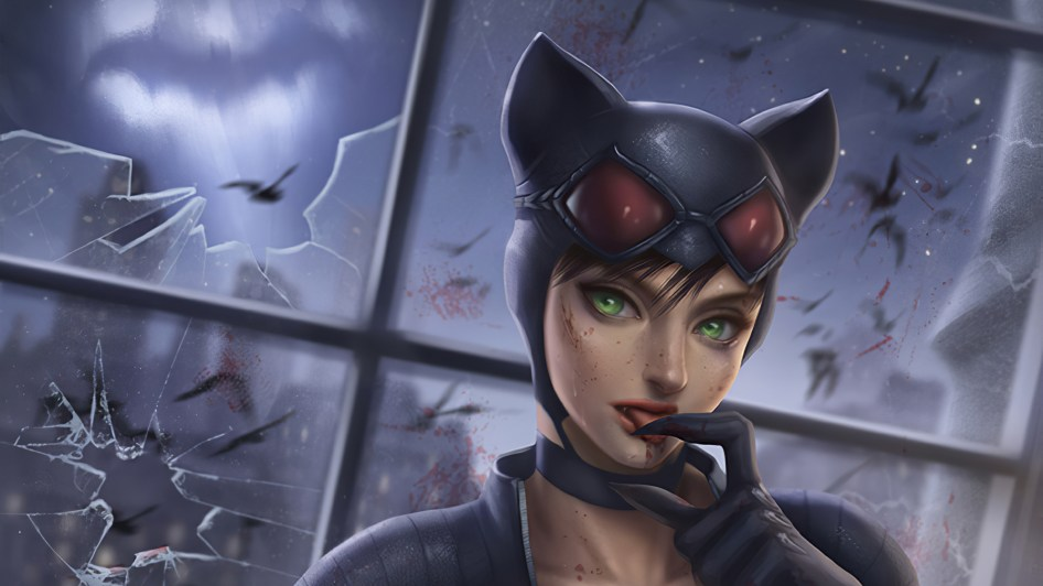 catwoman eating blood