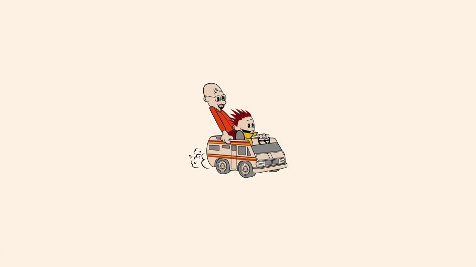 calvin and hobbes in breaking bad van