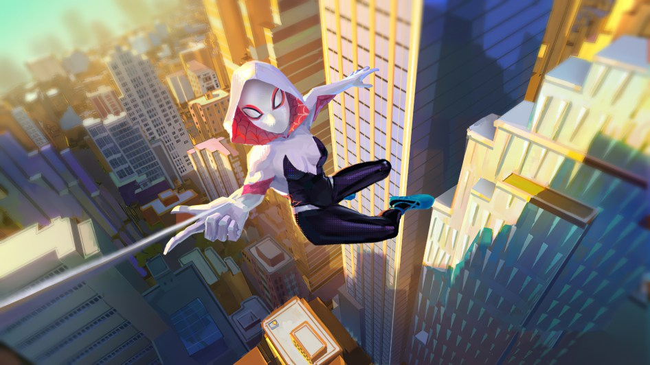 spider-gwen in the air