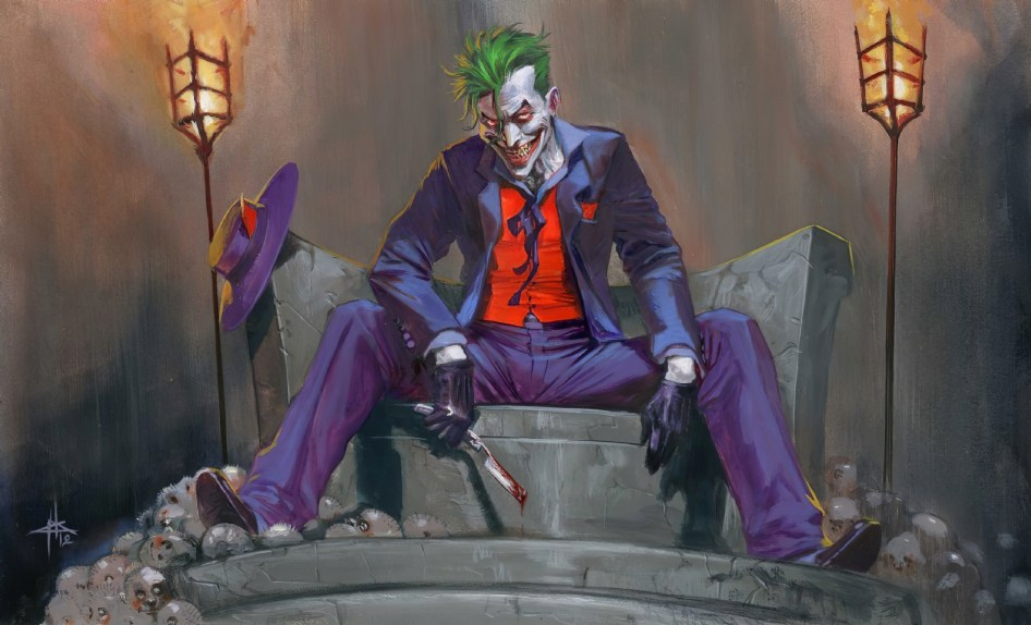 The joker has a knife