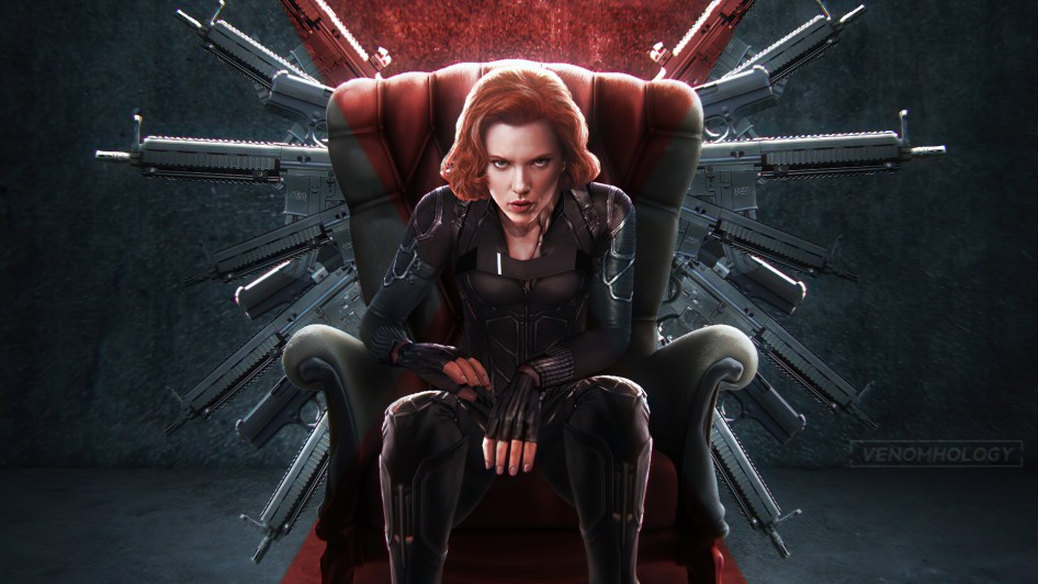 black widow has guns