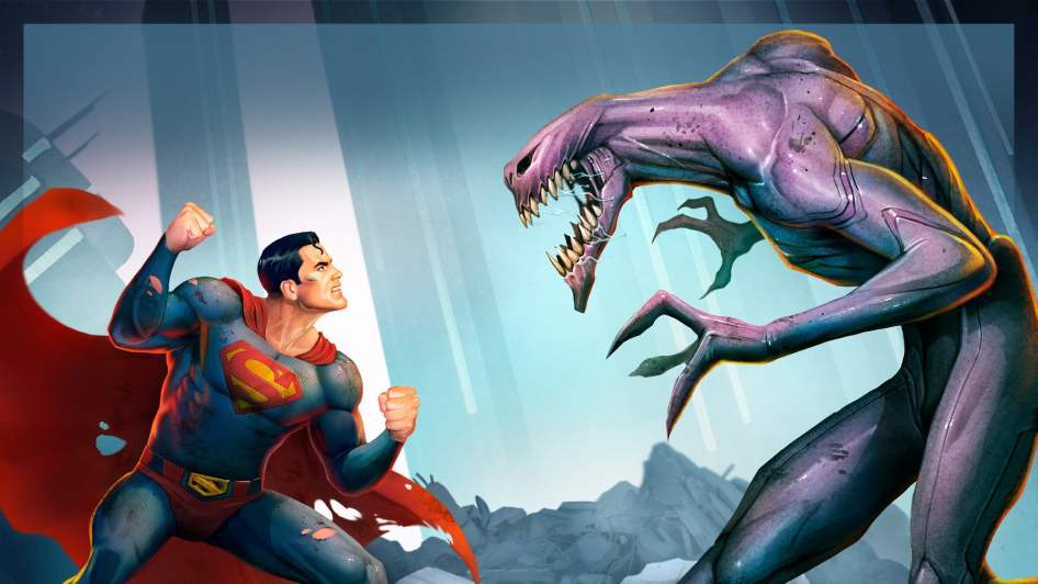 Superman punching alien