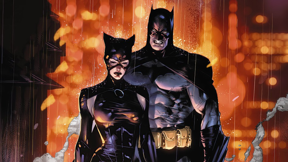 Batman Snears at Catwoman in the Rain