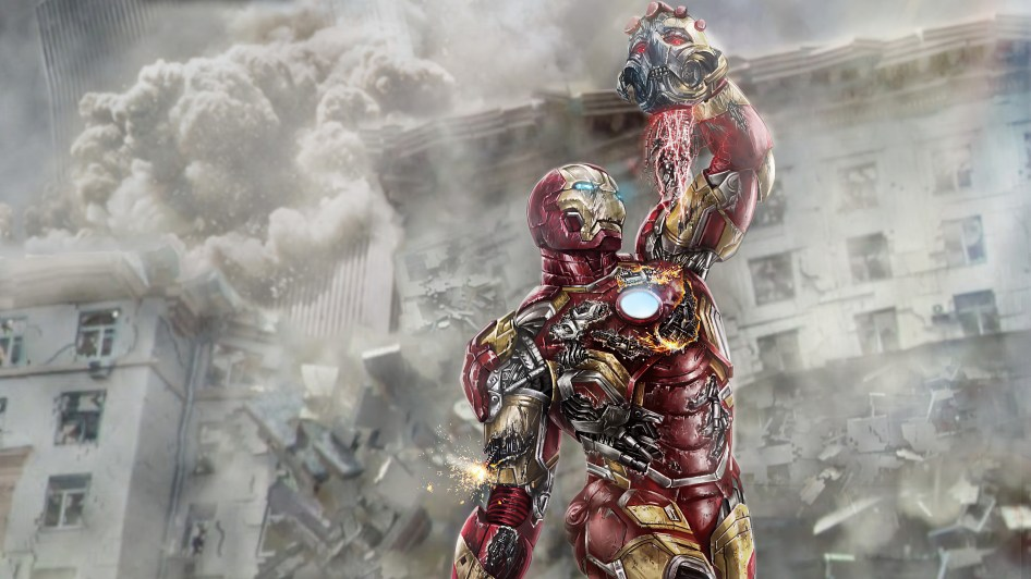 iron man fighting apolocypse robot in city destruction