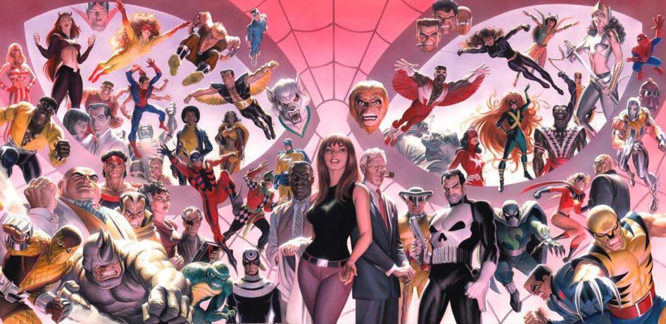 Marvel universe by John Romita Sr & Alex Ross