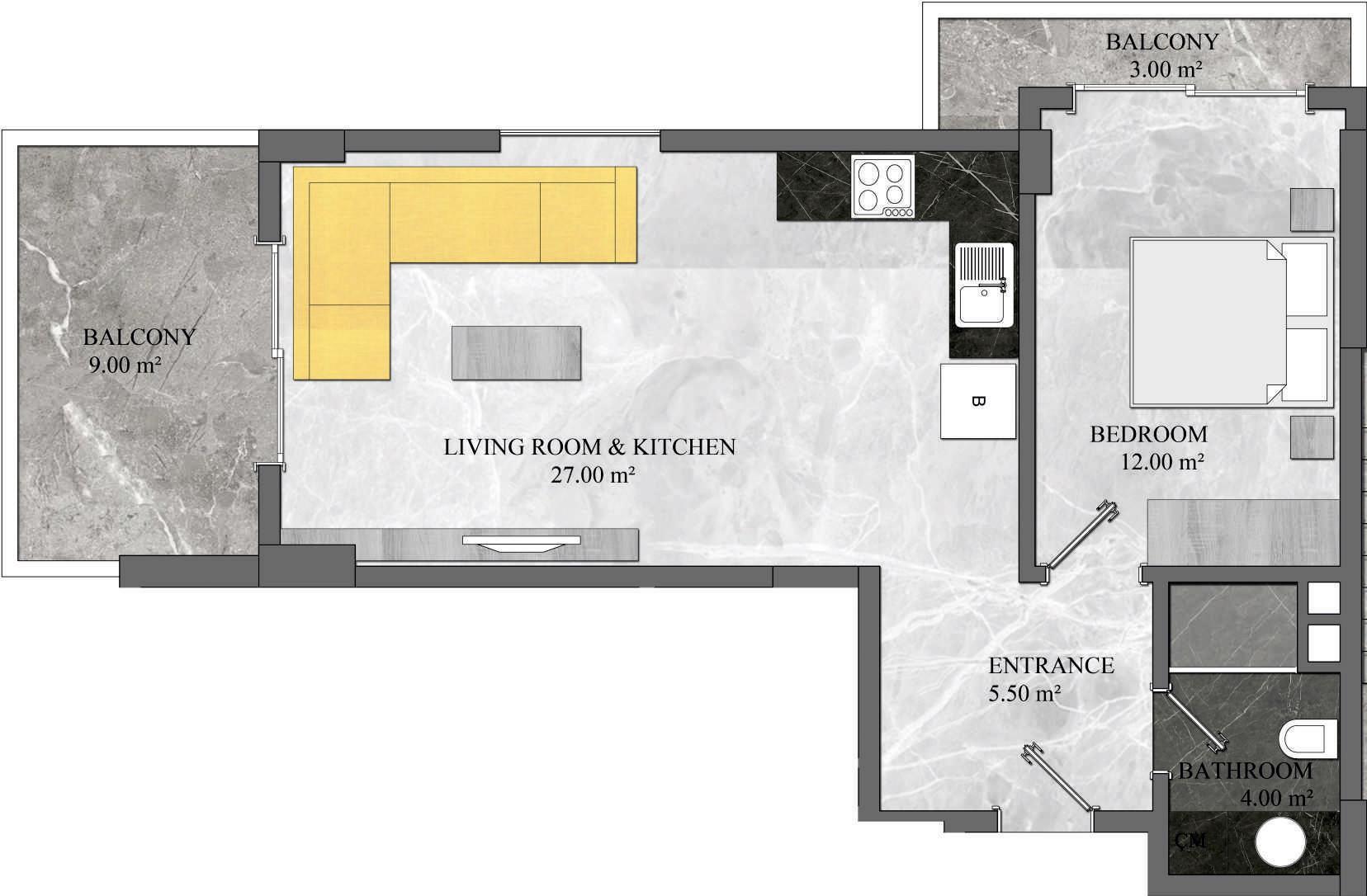 1 Bedroom Apartment 2 Type