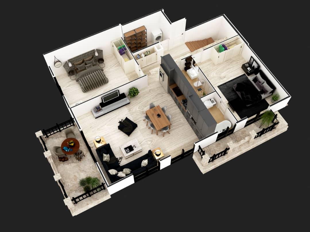 Penthouse 3+1 down floor