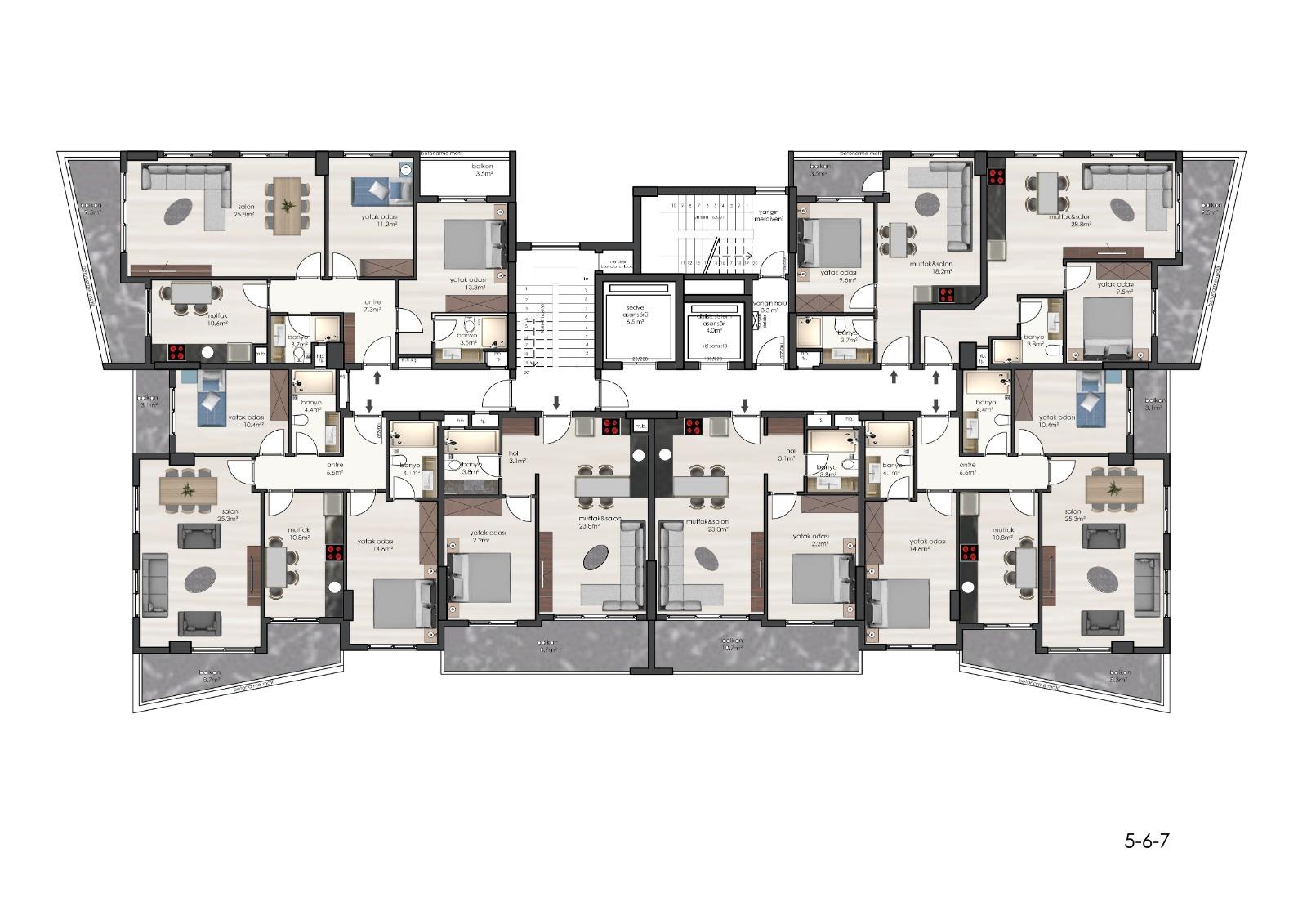 Plan 5, 6, 7 -th floor