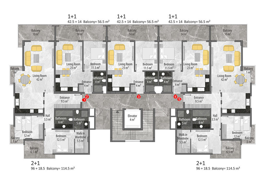 A block 1st and 2nd floor plan