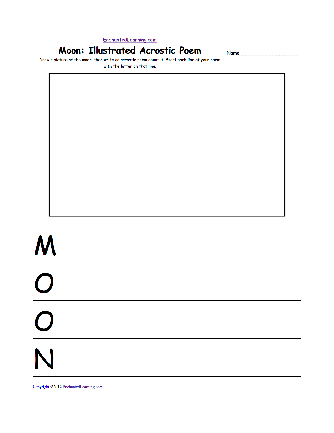 Moon Graphic Organizer For Expository Writing About The