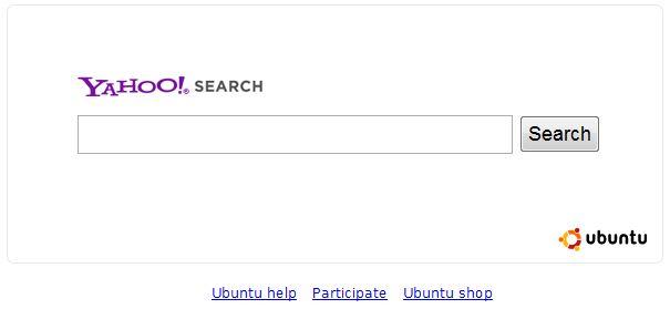 La nuova pagina di ricerca Ubuntu-Yahoo