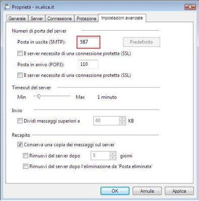 alice mail server posta uscita