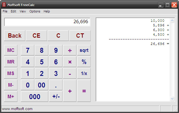 Moffsoft Calculator calcolatrice windows