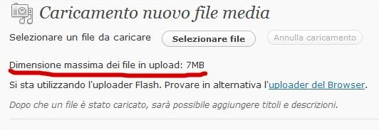 dimensione massima dei file in upload