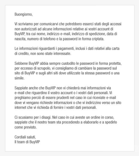 email buyvip violazione account