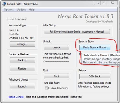 Nexus Root Toolkit - Flash Stock + Unroot