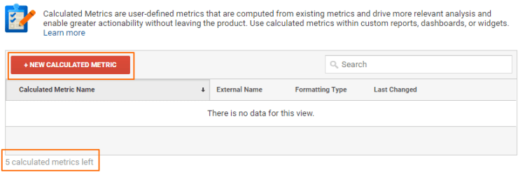 Image 6.1: Calculated Metrics Creation Page