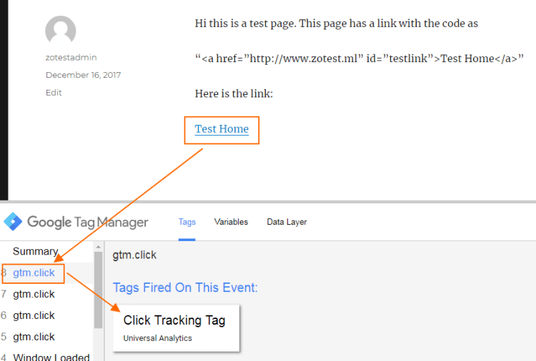 Image 1.9: Testing the Click Event Tag