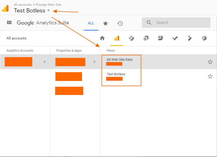 Image 1A.B. Google Analytics View Switcher
