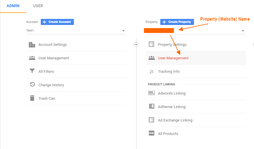 Image 1A.F. Adding Additional Admins to a Google Analytics Property