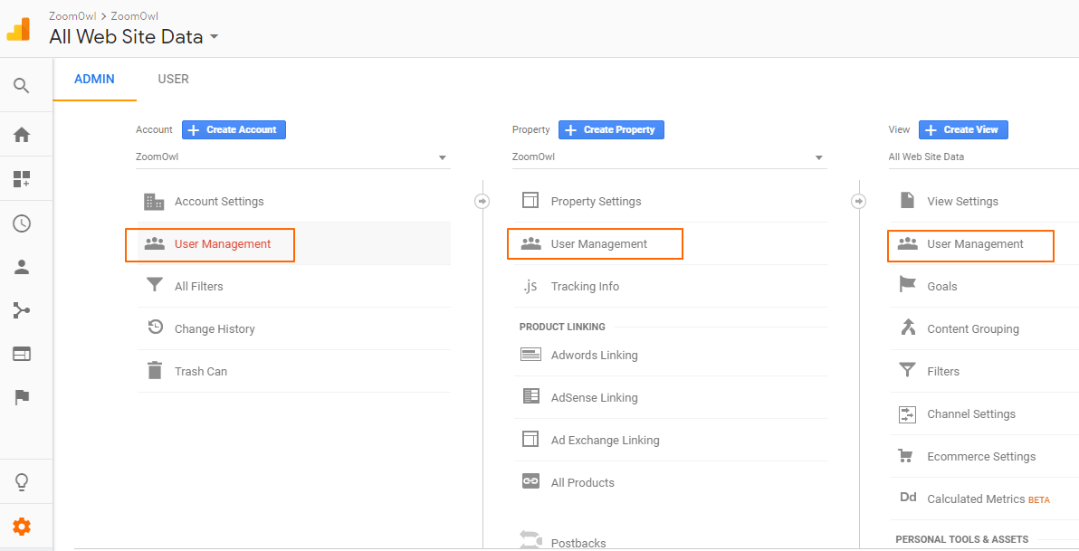 Image 1A.H. User Management in Google Analytics
