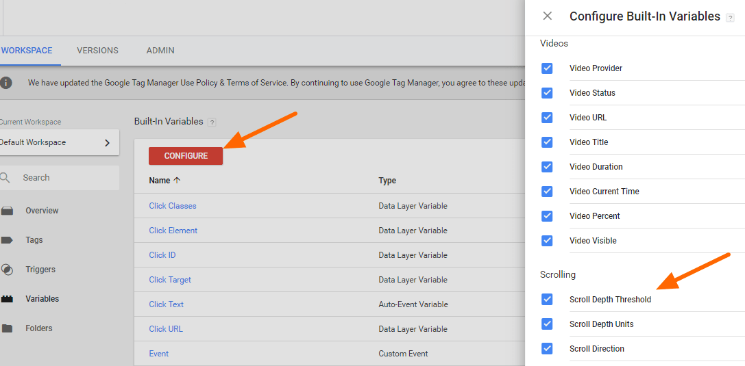 Image 1d.2. Enabling Scroll Variables in Google Tag Manager