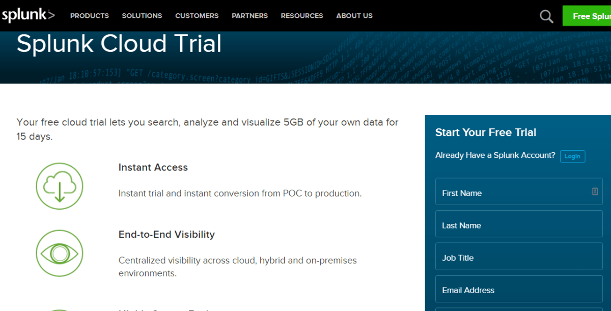 Image 1g.9. Splunk Cloud Free Trial