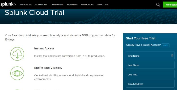 Image 1g.9. Splunk Cloud Free Trial