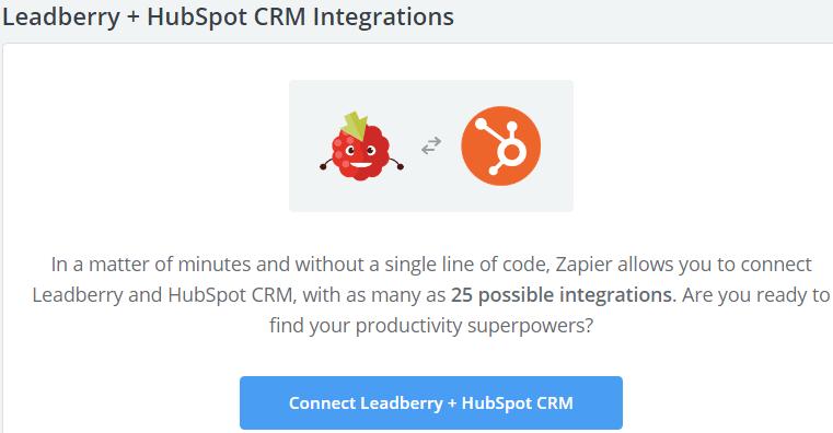 Image 1h.d. Leadberry & HubSpot CRM Integration