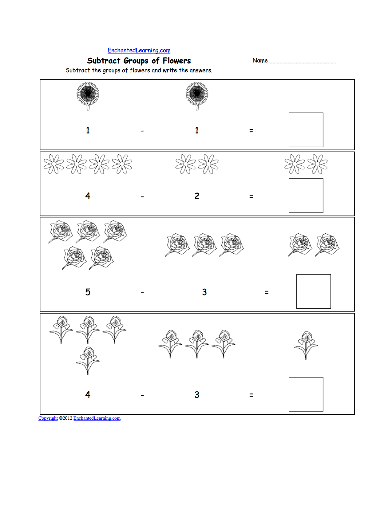 Math Flowers At Enchantedlearning