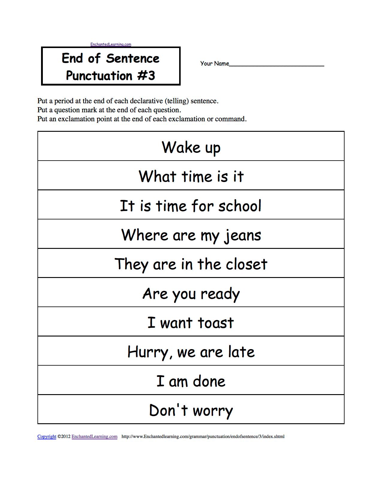 Punctuation Marks Enchantedlearning