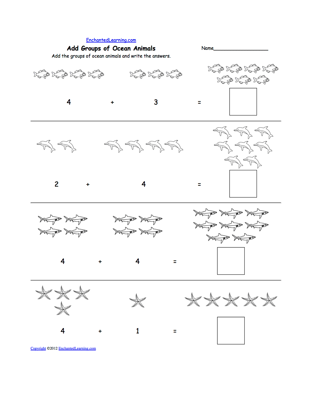 Animal Math Worksheets At Enchantedlearning
