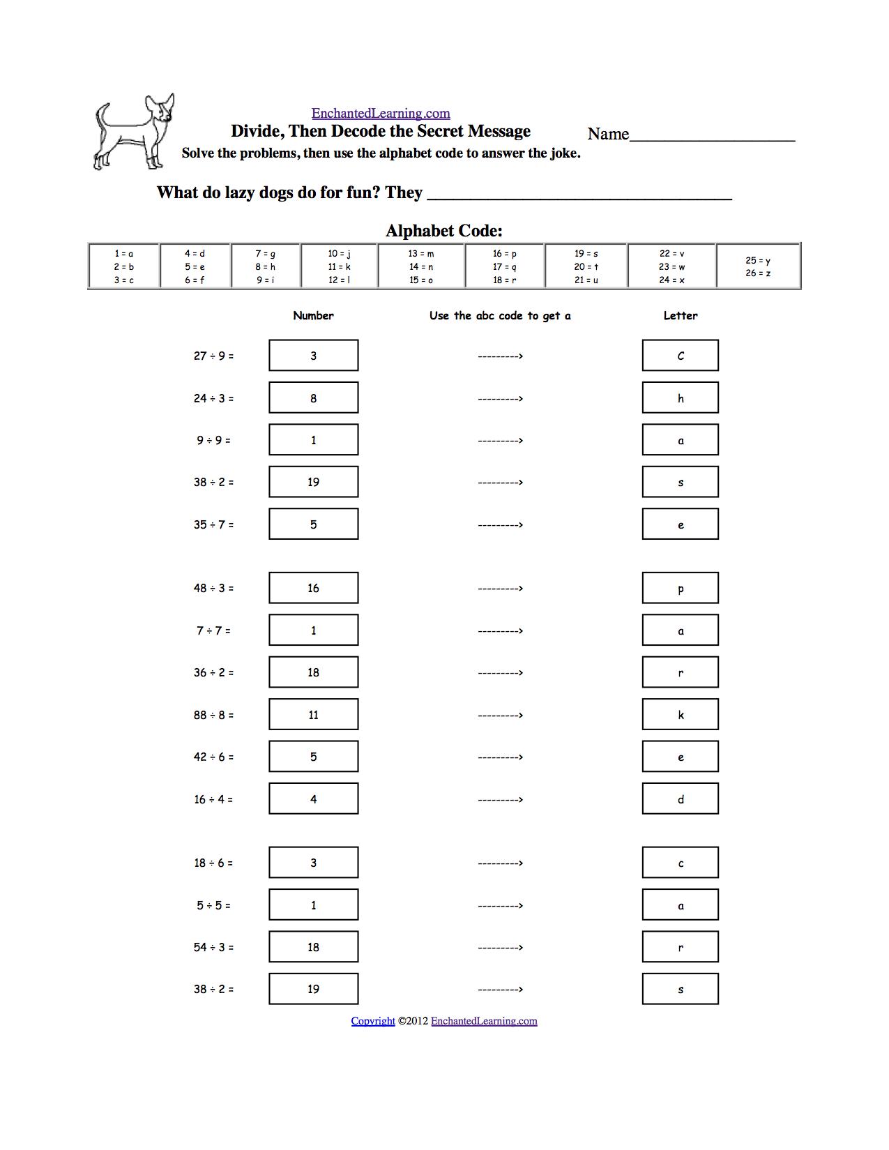Animal Math Worksheets At Enchantedlearning