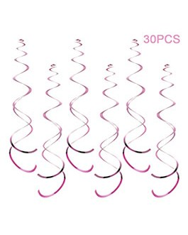 Party Swirl Decorations, Hanging Swirl for Ceiling Decorations, Pink Party Swirl Decoration, Pack of 30