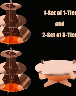 Rose Gold Cardboard Cupcake Stand Dessert Tower 3 Tier(2PC) + 1Tier(2PC) – 3-Pack
