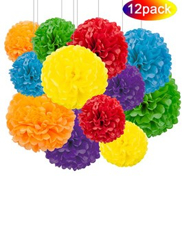 12pcs Rainbow Hanging Tissue Paper Pom Poms Decorations for Party Ceiling Wall Tissue Flowers Decorations – 6 Colors of 12 Inch, 10 Inch