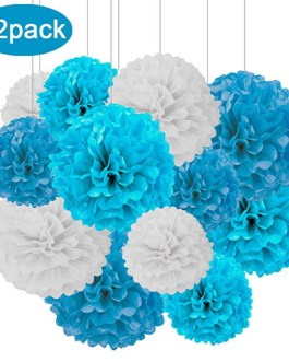 12pcs White,Blue and Dark Blue Hanging Tissue Paper Pom Poms Decorations for Party Ceiling Wall Tissue Flowers Decorations – 3 Colors of 12 Inch, 10 Inch