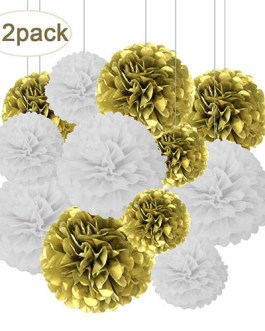 12pcs Gold and White Hanging Tissue Paper Pom Poms Decorations for Party Ceiling Wall Tissue Flowers Decorations – 2 Colors of 12 Inch, 10 Inch