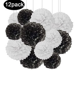 12pcs Black and White Hanging Tissue Paper Pom Poms Decorations for Party Ceiling Wall Tissue Flowers Decorations – 2 Colors of 12 Inch, 10 Inch