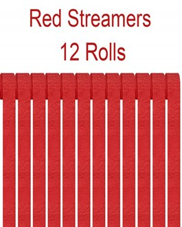 Red Crepe Paper Streamers Party Streamer Decorations – Party Decoration Supplies  (12 Rolls, Red)