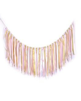 Fabric ribbon garlands with Tassel Garland already assembled ribbon hanging decoration, Party decoration Supplies, Pink,White and Gold