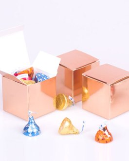 Rose gold Candy Boxes 2 x 2 x 2 Inch Small Mini Square Paper Boxes