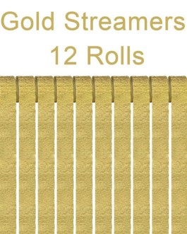 Gold Crepe Paper Streamers Party Streamer Decorations – Party Decoration Supplies  (12 Rolls, Gold)