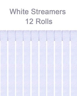 White Crepe Paper Streamers Party Streamer Decorations – Party Decoration Supplies  (12 Rolls, White)