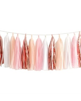 20PCS Shiny Tassel Garland Tissue Paper Tassel Banner,Table Decor,Tassels Party Decor Supplies, DIY Kits – (Rose Gold/Peach Color/Light Pink/White)