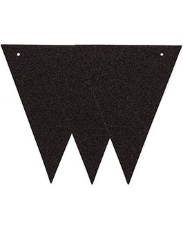 20 Feet Black Glitter Pennant Banner 30pcs Flags, Pack of 1(One 20 Feet or Two 10 Feet)