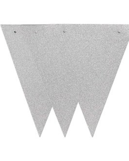 20 Feet Silver Glitter Pennant Banner 30pcs Flags, Pack of 1(One 20 Feet or Two 10 Feet)