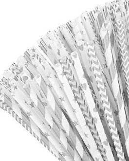 Paper Straw 100pc for Parties (Silver)