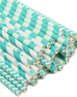 Paper Straw 100pc For Parties (Turquoise)