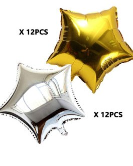 24 Inch Gold and Silver Star Shape Foil Mylar Balloons 24pcs(Each 12 pcs)